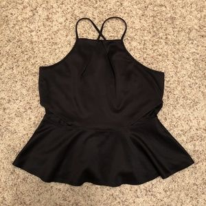 Black Strappy Peplum Top with Side Cut Outs
